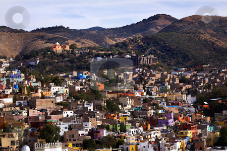 Colored Houses, Valencia Silver Mine, Guanajuato, Mexico stock photo, Colored Houses with Valencia Silver Mine in distance, Guanajuato, Mexico taked from El Pipilia Overlook by William Perry