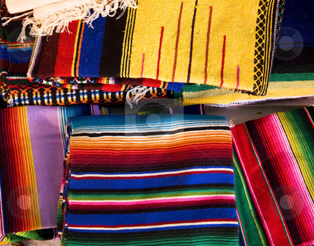 Colorful Mexican Blankets stock photo, Colorful Mexican Blankets Guanajuato Mexico by William Perry
