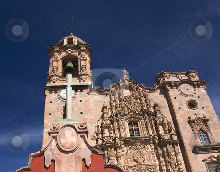 Cross Bell Steeple Valencia Church Guanajuato Mexico stock photo, Cross, Bell, Steeple, Valencia Church, Templo de San Cayetano, Guanajuato, Mexico by William Perry