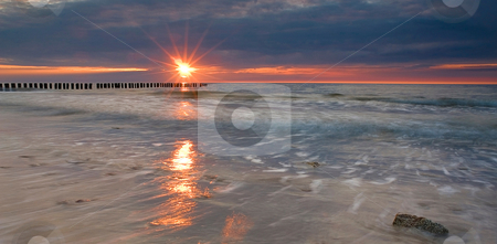 Sunset stock photo, A beautiful sunset over Baltic Sea, Poland by Adam Kraszewski