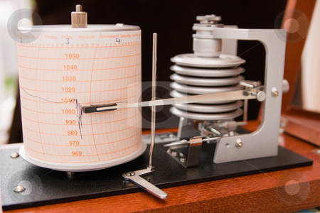 Barograph stock photo, Barograph in a wooden box with the lid open by Keith Wilson