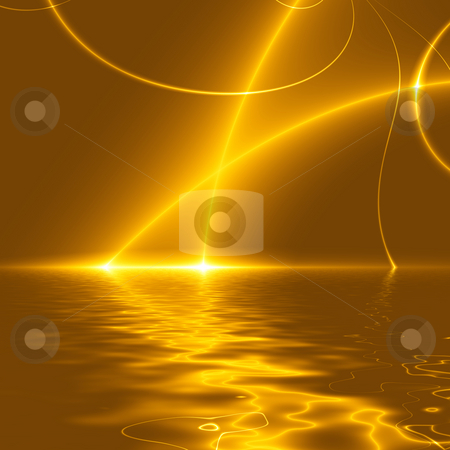 Dance of Lights over water, fractal02FXX9w stock photo, Dance Of Lights over the Sea. Abstract lights in the dark, reflected on a water surface (Computer generated background) by Germán Ariel Berra