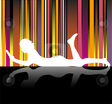 Girl Reading stock vector clipart, Silhouette of girl reading laying on the floor by Augusto Cabral Graphiste Rennes
