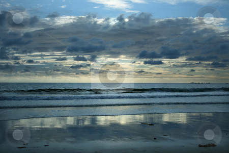 Horizon stock photo, Evening summer sun on the beach by Marc Torrell