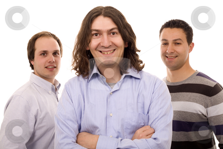 Three men stock photo, Three casual men white isolate by Marc Torrell