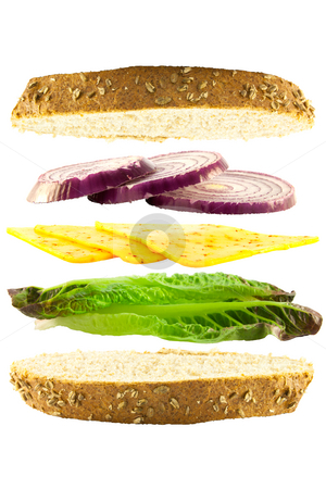 Cheese and Onion Layered Sandwich stock photo, Layered cheese, red onion and green lettace sandwich between two slices of crusty bread on a white background by Keith Wilson