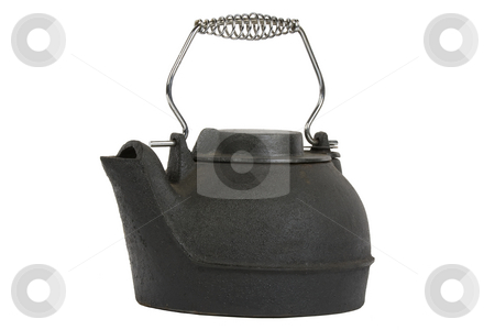 Black kettle stock photo, Black kettle isolated on white background by Chris Roselli