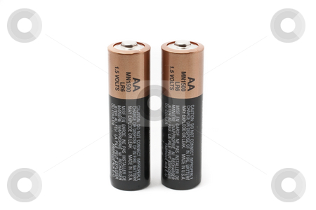 Battery stock photo, AA Size batteries close up with white background by Kenneth Ro