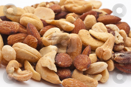 Close-up of mixed nuts stock photo, Close-up of mixed nuts with white background by Kenneth Ro