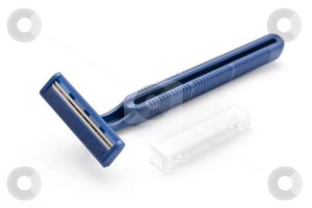 Disposable Blue Razors stock photo, Disposable Safety Blue Razors with White Background by Kenneth Ro