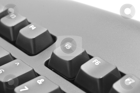 Computer Keyboard F5 stock photo, Black computer keyboard F5 key extreme close-up by Kenneth Ro