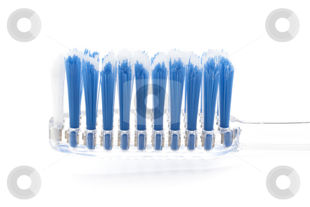 Toothbrush Head Close Up stock photo, Toothbrush Close Up with whtie background studio shot by Kenneth Ro