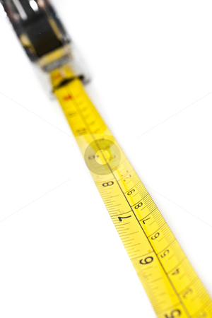 Yellow and Black Tape Measure stock photo, Yellow and Black Tape Measure with white background by Kenneth Ro