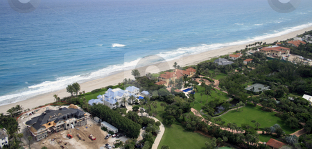 Coastal Flyover stock photo, Aerial photograph of oceanfront homes by Kristopher Strach
