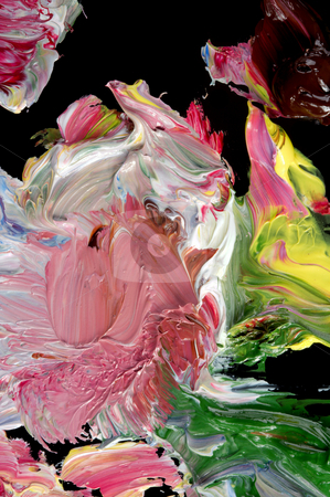 The creative disorder. stock photo, Mixing of an oil paint on black glass. by Sergey Goruppa