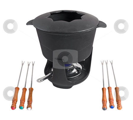 Cast iron fondue set stock photo, Characteristic cast iron set used for fondue or bourguignonne by ANTONIO SCARPI
