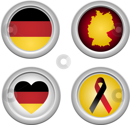 Germany Buttons stock vector clipart, Germany Buttons with ribbon, heart, map and flag by Augusto Cabral Graphiste Rennes