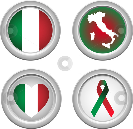 Italy Buttons stock vector clipart, Italy Buttons with ribbon, heart, map and flag by Augusto Cabral Graphiste Rennes