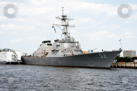USS Barry (DDG-52) Navy Destroyer ship stock photo, USS Barry (DDG-52) is an Arleigh Burke-class guided missile destroyer, commissioned in 1992. Barry is the fourth United States Navy ship named after the