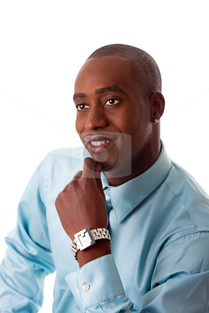 African business face stock photo, Face of a friendly African American business man in sea blue shirt, smiling and hand on chin with silver watch on wrist, isolated by Paul Hakimata