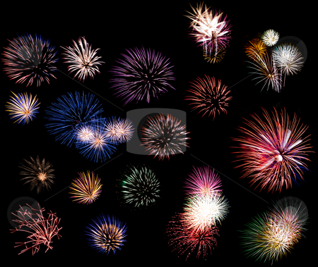 Fireworks collage stock photo, Composition of many colorful fireworks to celebrate new year and independence day on the fourth of July by Paul Hakimata