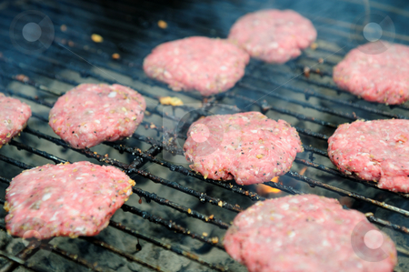 Raw Hamburgers On The Grill stock photo, Uncooked hamburger patties just tossed on the barbecue grill to start cooking by Lynn Bendickson