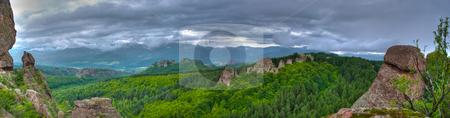 Rock formation hdr panorama stock photo, Rock formations panorama - Belogradchishki skali Bulgaria by Desislava Dimitrova