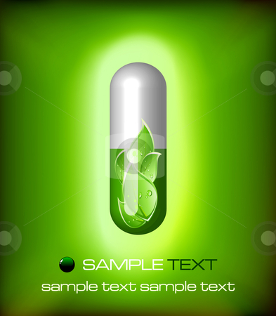 Green alternative medication concept - vector illustration stock vector clipart, Green alternative medication concept - vector illustration by Adrian Grosu