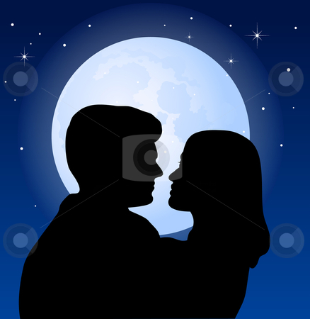 Couple and the moon - vector illustration stock vector clipart, Couple and the moon - vector illustration by Adrian Grosu