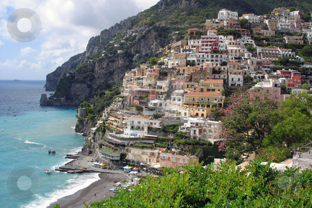 Positano at the Amalfi coast stock photo, View of Positano, colourfull town at the Italian Amalfi coast. by Peter Van veldhoven