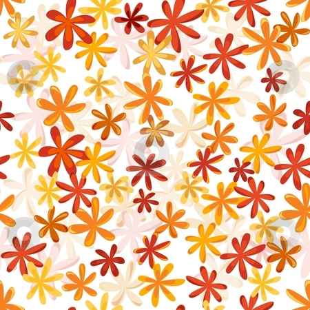 Seamless flower retro pattern in bright autumn   colors stock vector clipart, Seamless flower texture in bright reds,   orange and amber. by Ina Wendrock