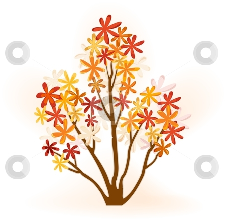 Abstract autumn tree  stock vector clipart, Abstract tree with flowery foliage in   bright autumn colors. by Ina Wendrock