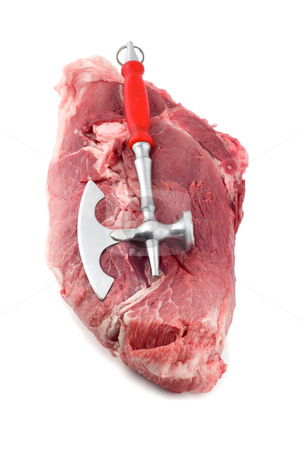 Axe meat stock photo, Axe meat isolated on white background by Vladyslav Danilin