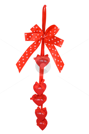 Red bow ribbon stock photo, Red bow ribbon heart tape isolated on white background by Vladyslav Danilin