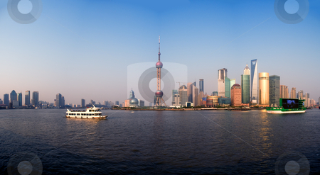 Shanghai pudong stock photo, Shanghai pudong finacial district panoramic view by Francesco Perre