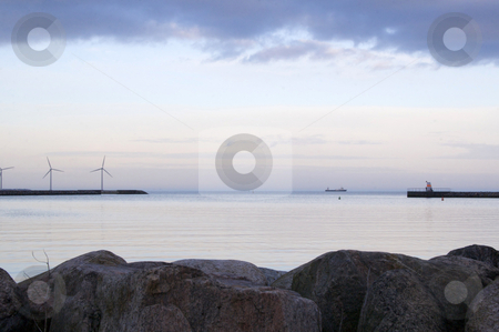 Cold evening, harbor stock photo, Harbor in the