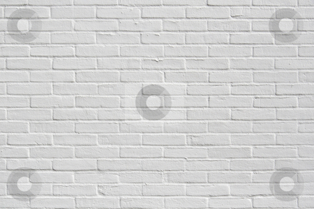 White brick wall stock photo, White wall texture/background by Anders Peter