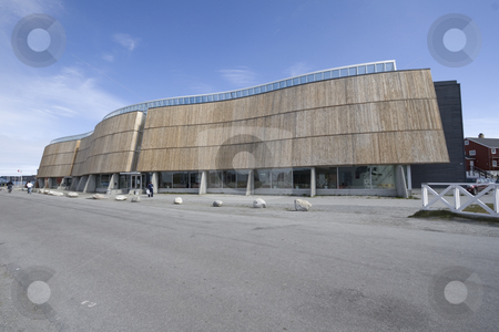 Nuuk, culture center and cinema stock photo, The very beautiful and famous culture center of Nuuk, Greenland. Also houses a cinema and a restaurant. by Anders Peter