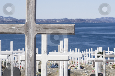 Cemetery stock photo, Cross at cemetery by the water - neer Nuuk airport, Greenland by Anders Peter