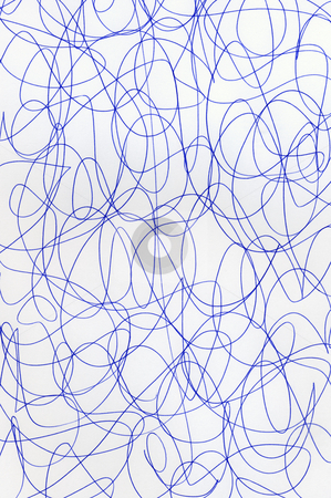 Blue pen scribbles on white paper abstract pattern. stock photo, Blue pen scribbles on white paper abstract pattern. by Stephen Rees