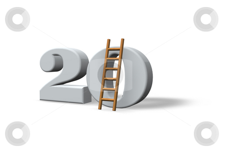 Twenty stock photo, The number twenty - 20 -  and a ladder on white background - 3d illustration by J?