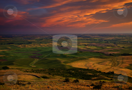 Red Sky over the Palouse stock photo, Explosive color at sunset over the Palouse Hills of Eastern Washington. by Mike Dawson