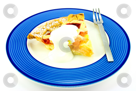 Pie and Cream stock photo, Slice of apple and strawberry pie with cream and a fork on a blue plate with a white background by Keith Wilson