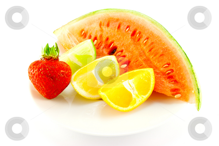 Citrus Fruit with Strawberry and Melon stock photo, Lemon, lime and orange wedges with a red ripe strawberry and slice of juicy watermelon with a white background by Keith Wilson