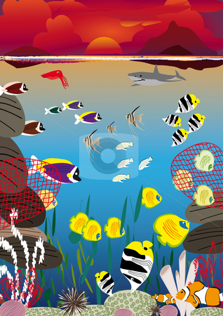 Sunset swimming fish stock vector clipart, Several fish swimming between coral reef at sunset by Karin Claus