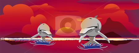 Sunset jumping dolphins stock vector clipart, Two out of the water jumping dolphins with a colorful sunset by Karin Claus