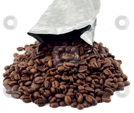 Coffee bean isolated stock photo, Coffee bean packing isolated on white background by Vladyslav Danilin