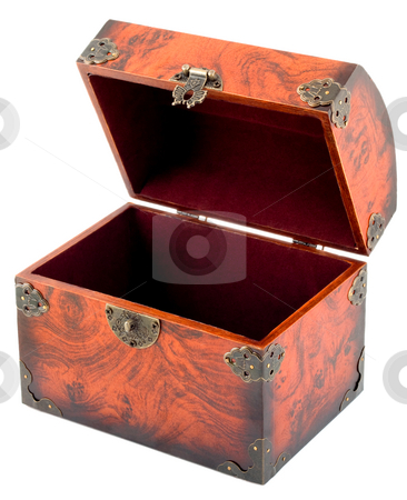 Treasure chest stock photo, Treasure chest empty open isolated on white background by Vladyslav Danilin