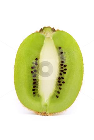 Sliced Kiwi Fruit stock photo, A vertically sliced kiwi fruit isolated on a white background by Stefan Breton