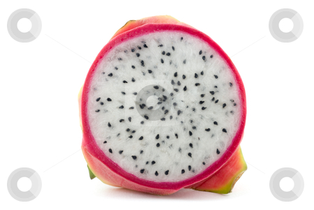 Sliced Dragon Fruit stock photo, A sliced dragon fruit (Hylocereus undatus pitayas) isolated on a white background. Clipping path included. Adobe RGB color profile. by Stefan Breton